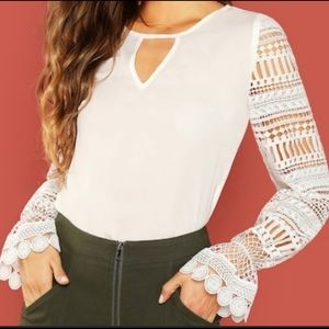 Laced sleeve blouse